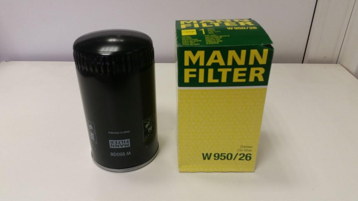 Фильтр масляный КАМАЗ,ПАЗ (дв.CUMMINS ISBe 185,210,300) (аналог WK 950/26) MANN+HUMMEL