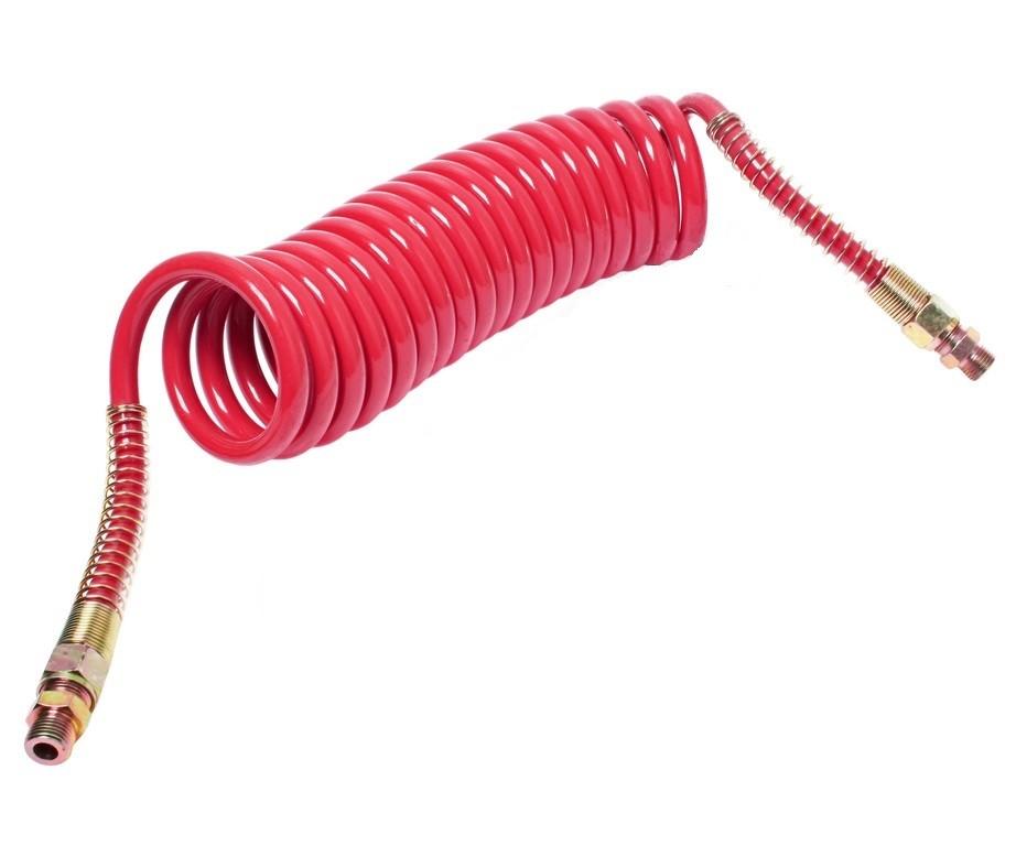 Шланг пневматический витой М16 L=7.5м (красный) ПРЕМИУМ