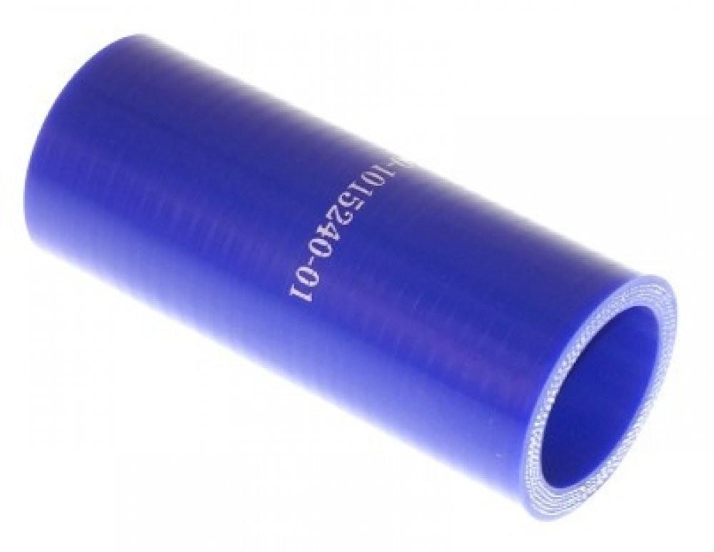Патрубок КАМАЗ радиатора отводящий нижний короткий синий силикон (L=100мм,d=32)