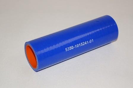 Патрубок КАМАЗ радиатора отводящий нижний короткий синий силикон (L=135мм,d=32)